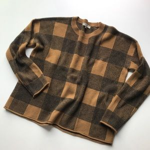 Madewell Stripe Wool Blend Crew Neck Sweater Brown